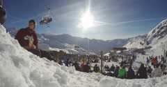 Ski/Snowboard Timelapse in the Mountains, France Alps, Winter, Ultra wide angle. Stock Footage