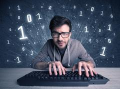 Online intruder geek guy hacking codes Kuvituskuvat