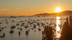 Sunset at English Bay in downtown Vancouver Stock Footage