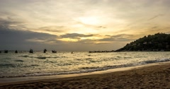 Ocean and beach sunset timelapse, Koh Tao Island, Thailand, Wide angle Stock Footage