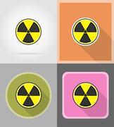 Sign radiation flat icons vector illustration Stock Illustration