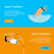 Swimming and Pole Vault Sports Banners Stock Illustration