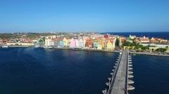 Aerial of the Queen Emma Bridge in Curacao Stock Footage