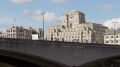 Time Lapse of Pedestrians, Waterloo bridge with Shell Mex House, London, UK Stock Footage