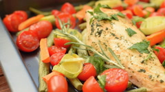 Honey Balsamic Chicken Breasts and Veggies Stock Footage