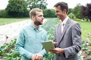 Businessman Using Digital Tablet During Meeting With Farmer In Field Stock Photos