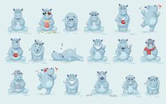 Set of Hippo Stock Illustration