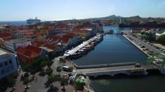 Aerial of floating market district in Punda, Curacao Stock Footage