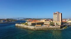 Aerial of Plaza Hotel Willemstad, Curacao Stock Footage