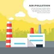 Air Pollution Concept Vector in Flat Style Design Stock Illustration