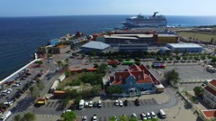 Aerial of world heritage buildings in Otrobanda, Curacao Stock Footage