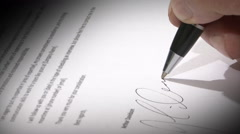 Sign a document Stock Footage