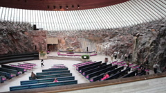 Interior of Finnish Church of the Rock. The Temppeliaukio church, Finland Stock Footage