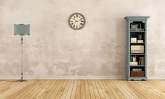 Empty old room with little bookcase Stock Illustration