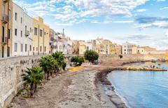 Trapani, old town on the coast of Mediterranean sea, Sicily, Italy. Stock Photos