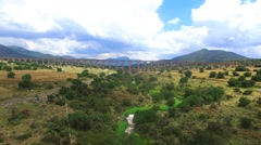 Aireal drone flying over river in aqueduct Mexico Stock Footage