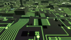 Green Illuminated Futuristic Circuit Board crane up and down Stock Footage
