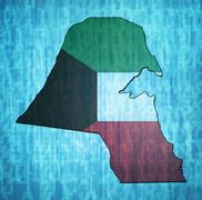 Kuwait territory with flag Stock Illustration