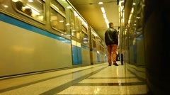 Arriving by train Moscow subway, people are in a hurry to work. Rapid movement Stock Footage
