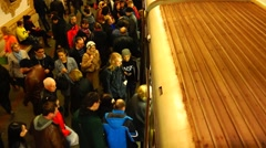 Arriving by train in the Moscow subway, taymlaps, top view. Stock Footage