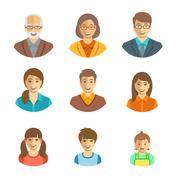 Family members happy faces flat avatars set Stock Illustration