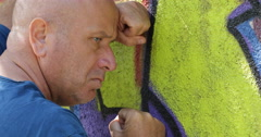 Pan View Disappointed Person Suffering with Concerned Expression Thinking Alone Stock Footage