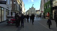 People Walking in Pedestrian Shopping Area in Central Copenhagen Stock Footage