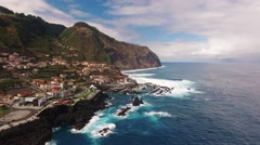 View of Porto Moniz Madeira aerial view Stock Footage