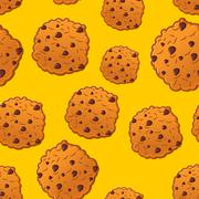 Cookies pattern. Biscuit with chocolatet Drops ornamen. Cookie texture. crack Stock Illustration