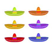 Sombrero set. Colorful Mexican hat ornament. National cap Mexico Piirros