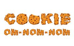 Om nom nom cookie Typography. Letters of biscuit. lettring of cookies. Edible Stock Illustration