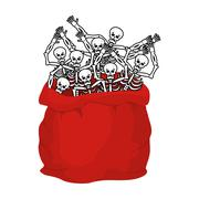Skeletons sack in Santa Claus in Halloween. Many skulls in red bag. horrors o Stock Illustration