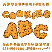 Cookies font. Food lettering. Edible typography. Baking ABC. Crackers and oat Stock Illustration