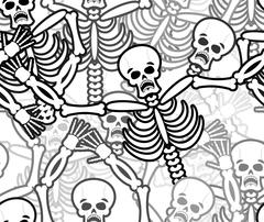 Sinners seamless pattern. Skeleton in Hell background. Ornament of dead. Bone Stock Illustration