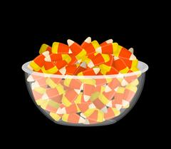 Bowl and candy corn. Sweets on plate. Traditional Treats for Halloween Stock Illustration