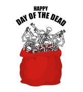 Day of the Dead. Skeletons in sack. Skull in bag. Logo for national holiday i Stock Illustration