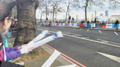 4K Athletes in wheelchairs competing in the 2016 London Marathon - Editorial Stock Footage