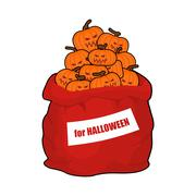 Bag scary pumpkins for Halloween. Full sack of vegetables for terrible holida Stock Illustration