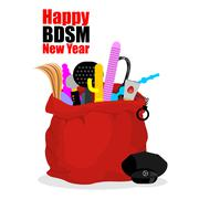 Happy BDSM New Year. Red sack of Santa Claus with adult sex toys. Dildo and g Stock Illustration