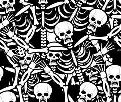 Sinners seamless pattern. Skeleton in Hell background. Ornament of dead. Bone Piirros
