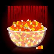 Happy Halloween. bowl and candy corn. Sweets on plate. Traditional treat for  Stock Illustration