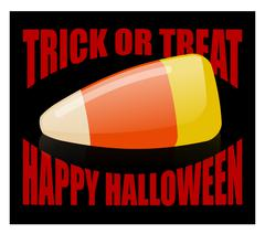 Trick or treat. Happy Halloween. candy corn. Sweets on plate. Traditional tre Stock Illustration