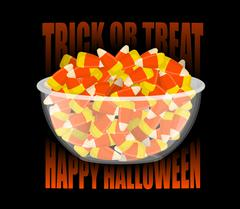Trick or treat. Happy Halloween. bowl and candy corn. Sweets on plate. Tradit Stock Illustration