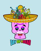 Day of the Dead skeletons and sombrero. Multi-colored skull in Mexican hat. E Stock Illustration