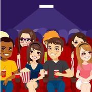 People Cinema Theater Stock Illustration