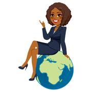 Businesswoman Sitting Africa Globe Stock Illustration