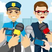 Press Police Arresting Stock Illustration