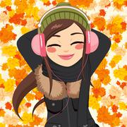 Autumn Woman Listening To Music Stock Illustration