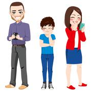 Smartphone Addiction Parents Stock Illustration