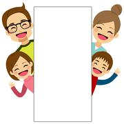 Happy Family Placard Stock Illustration